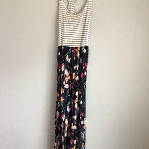 Floral striped Razorback maxi dress